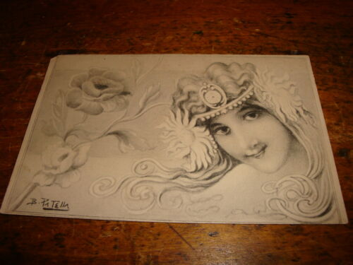 Vintage Patella Art Nouveau Postcard Beautiful Young Girl Woman Flowers on Side