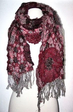 Flower Print Knitted Scarf  Black Red Brown Purple
