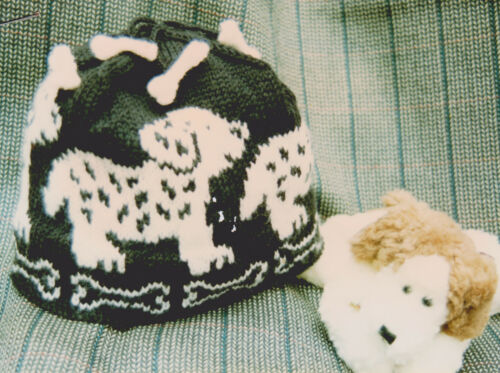 Puppy & Bones Childrens/Baby Hat with Mini Bone Tassels Knitting Pattern in DK
