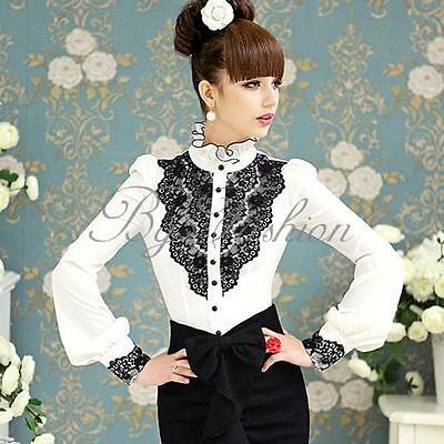 New Womens Lace Front Shirt Stand Collar Retro Tops Long Sleeve Victorian Blouse