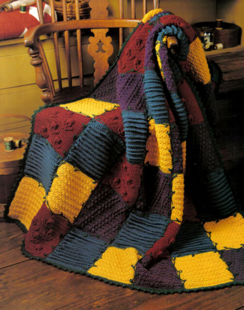 COLORFUL Patchwork Sampler Afghan/Crochet Pattern INSTRUCTIONS ONLY