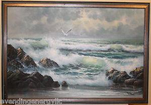 Vintage-Robert-Bob-Sanders-Marine-Ocean-Seagulls-Oil-Painting-24X36-Signed