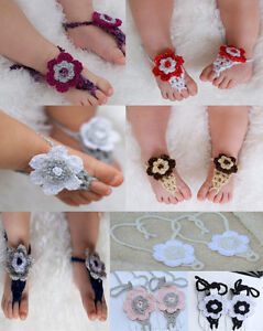 Cute Handmade Cotton Knit Flowers Barefoot Sandals Baby Photo Prop New 1-5 Year