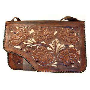 Vintage-Mexico-Tooled-Leather-CutOut-3D-Rose-Shoulder-Bag-Handbag-Purse