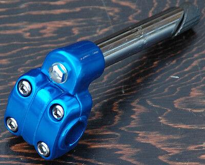 "Blue Alloy 7/8"" 22.2mm Old School BMX Bike 4 Bolt Quill Stem Cruiser Bicycle"
