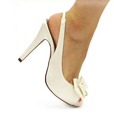 Slingback Peep toe High Heels Satin Bridal Handmade Shoes 205 Sz US 5 - 9