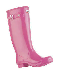 HUNTER-HUNTRESS-PINK-GLOSS-TALL-EXTENDED-CALF-BOOT-Sizes-7-9-Wide-Welly