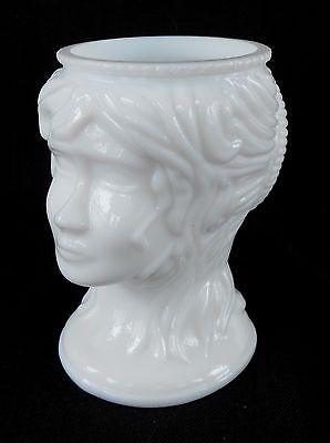 Vintage Milk Glass ** Lady's Head - Hair in a Bun ** Figural * Dish Vase Planter