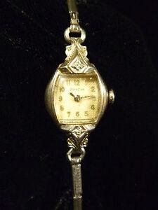 Vintage Swiss Bulova 10k Rolled Gold Plated Diamond Ladies