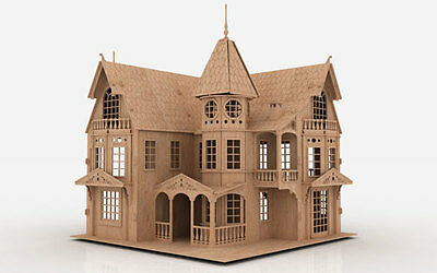 FM 3D Puzzle Laser Plan Doll House Pattern CNC Router DXF Dollhouse ScrollSaw