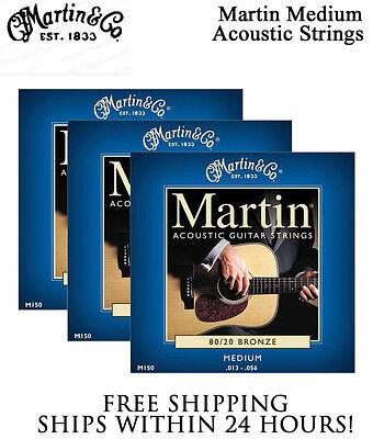 ** 3 SETS - MARTIN M150 ACOUSTIC GUITAR STRINGS MEDIUM 80/20 BRONZE **