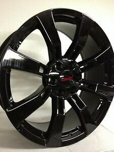 20 inch black gmc sierra yukon denali factory oe gm accessory wheels rims 6x5 5 ebay. Black Bedroom Furniture Sets. Home Design Ideas
