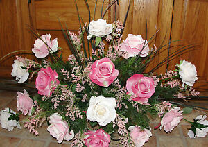 Spring Mothers Day Mom Silk Funeral Grief Cemetery Tombstone Saddle Pink Roses