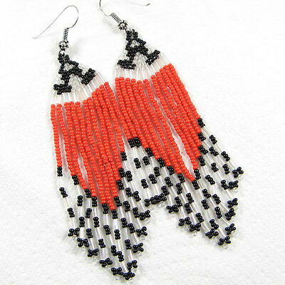 NEW WOMEN RED BLACK HANDCRAFTED NATIVE STYLE FASHION HOOK EARRINGS E8/23