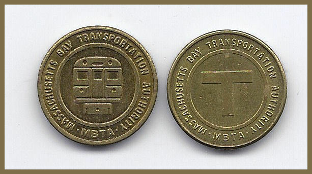 1 (ONE) TRANSIT TOKEN MA 115 AN MASSACHUSETTS BAY AUTHORITY - T