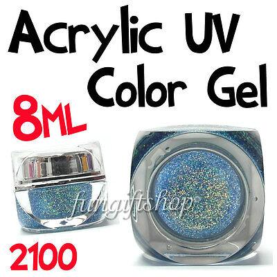 Nail Art Dodger Blue 8ml 0.25oz UV Builder Color Dust Glitter Gel Acrylic Polish