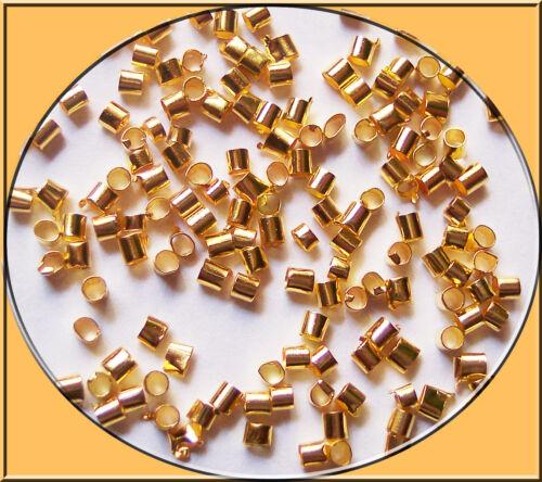 über 500 Quetschperlen, Crimp Beads, Tube 2 x 2 mm Loch 1,5 mm Farbe wählen