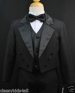 Baby-Toddler-amp-Boy-Black-Formal-Tuxedo-Suit-Set-Wedding-Party-Outfit-size-S-20