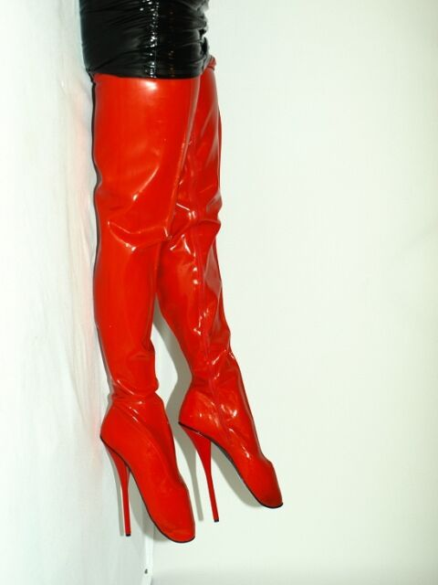 BLACK OR RED LATEX RUBBER BALLET BOOTS SIZE 10-16 HEELS-8,5' - PRODUCER-POLAND