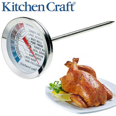 Kitchen Craft Meat Thermometer Stainless Steel Food Cooking BBQ Meat Steak Probe