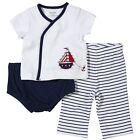 Little Me Baby-boys born Sail Away 3 Piece Diaper Pant Set, Navy Multi, 6 Months