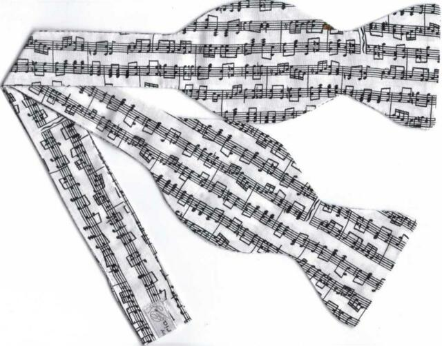 (1) SELF-TIE BOW TIE - SHEET MUSIC ON WHITE