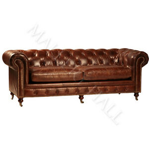 vintage chesterfield distressed aged leather tufted sofa antique brown on sale ebay. Black Bedroom Furniture Sets. Home Design Ideas