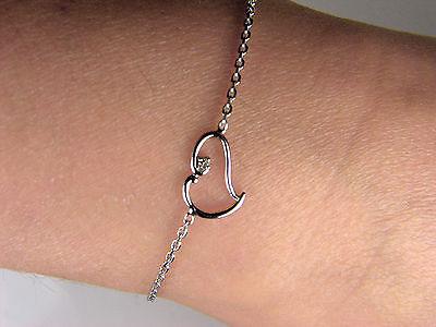 14k White Gold Designer Women's Heart  Bracelet