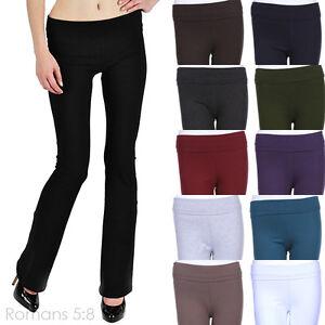 Yoga-Pants-Solid-High-Quality-THICK-Cotton-PLAIN-BASIC-Athletic-Boot-Cut-XS-L