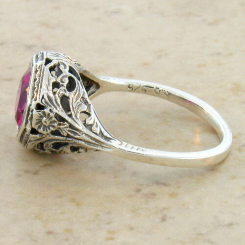 2 Ct LAB RUBY ANTIQUE ART DECO STYLE .925 STERLING SILVER FILIGREE RING SZ 9,#85