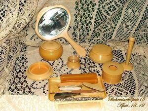 Vintage-Antique-VANITY-SET-1800s-Antique-Manicure-Set-15-Items-Collectibles