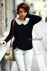 Dots-Peter-Pan-collar-sweater-cream-Mixed-Contrast-top-Blouse-T-Shirts-vintage
