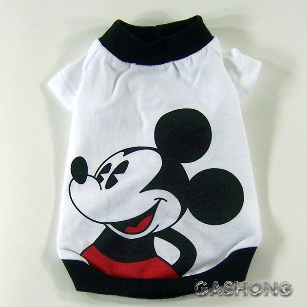 Dog&Cat Clothes Disney Shirts,Mickey Mouse Printing Tops_A305 White,sz S