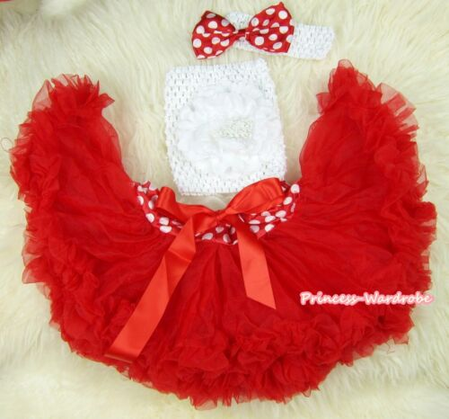 Newborn Baby Xmas Red Minnie Waist Pettiskirt Tube Top headband 3PC Set NB-3Year