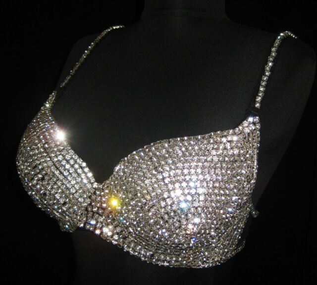 Fully Metal Set Rhinestone Crystal Bra Burlesque Costume Belly Dance