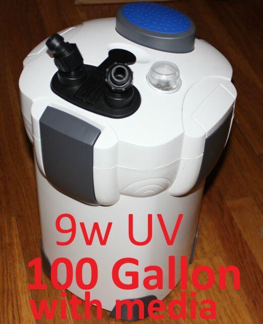 100 Gallon External Aquarium Filter UV 9w with builtin pump kit 303B with MEDIA
