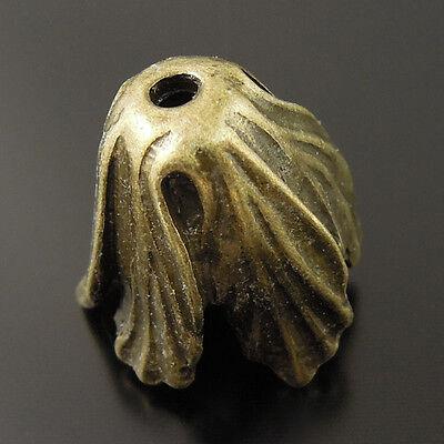 36248 Antique Bronze Tone Vintage Alloy Vegetable Cabbage Beads Cap Charms 14pcs