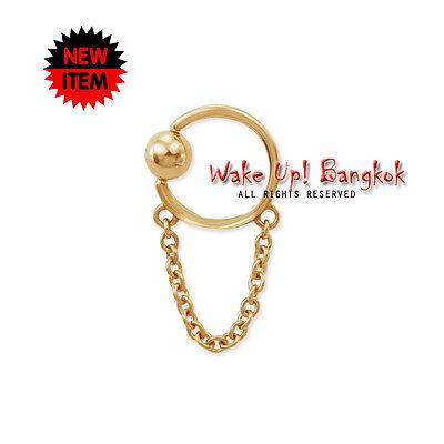 Solid Yellow Gold Nipple Captive Ball Closure Bead Chain Ring Body Jewelry