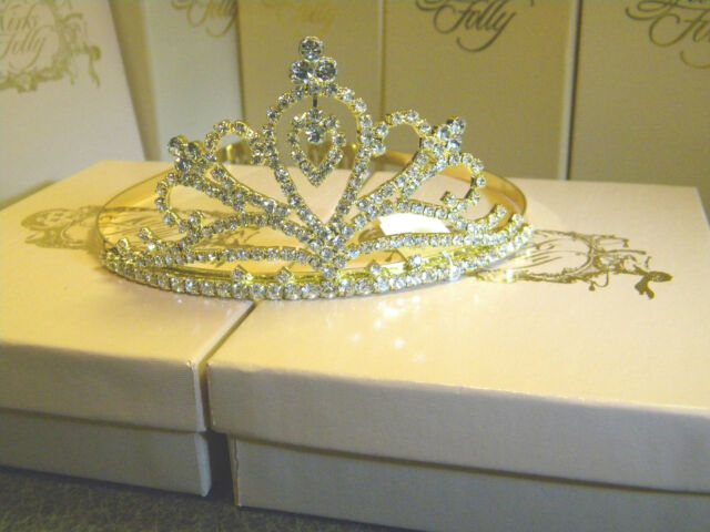 Kirks Folloy golden princess tiara crown bridal communion clear crystals freeshp