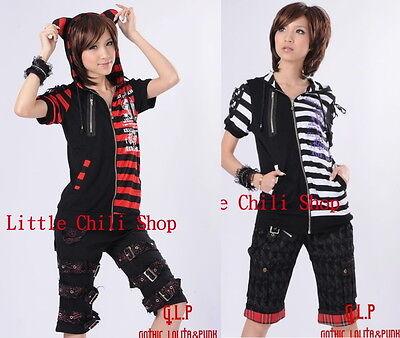 FreeShip PUNK VISUAL KEI EMO Kera CAT HOODIE Stripe Shirt 71211 *2 Colors *