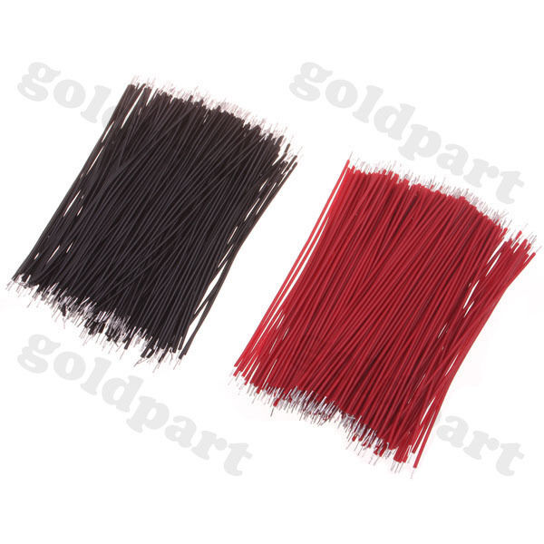 400pcs Motherboard Jumper Cable Wires Tinned 6cm Black & Red