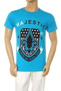 New-Mens-Majestic-Fleur-De-Lis-American-Flag-Graphic-Design-Blue-Cotton-T-shirt