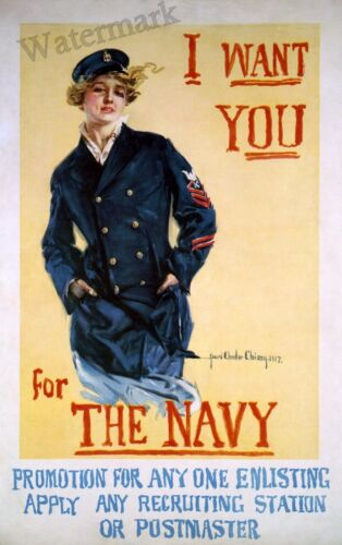 Wall Art / Photograph WWI  Navy Recruitment Poster 1918c 11x17