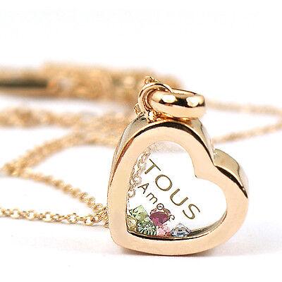 18K R Gold GP multi-color Swarovski Crystal heart love Pendant Necklace ia1191