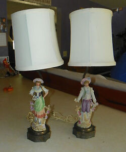 Pair-of-Porcelain-Country-Man-Woman-Figure-Lamps-with-Shades-HD85