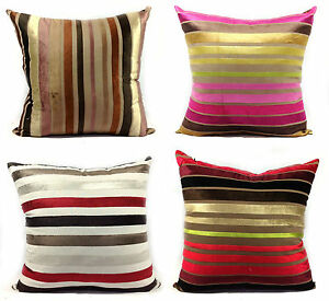 CUSHIONS-CUSHION-COVERS-LARGE-SET-OF-4-VELOUR-STRIPE-SCATTER-CUSHIONS-COVERS