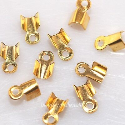 500PCS  Fold Over End Cord Findings Diy Crimp Bead Cap 6/9mm   Color/Size choose