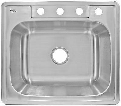 """Kitchen Sink Top Mount Stainless Steel 25"""" LT64 by LessCare"""