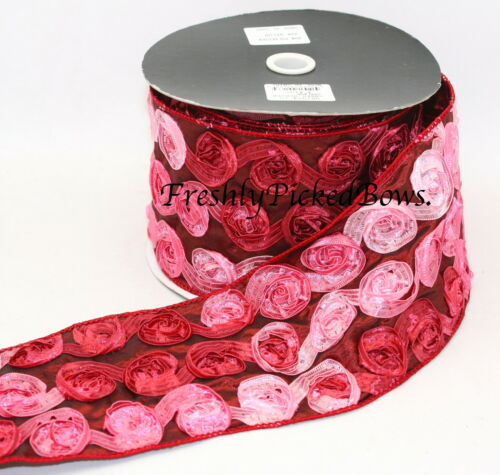 """4/""""  VARIEGATED Rosette Wired Ribbon 1 yrd 13 colors to choose from"""