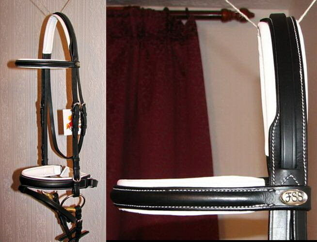 FSS German Posh FANCY WHITE STITCH Padded Comfort Crank Bridle Dressage Reins